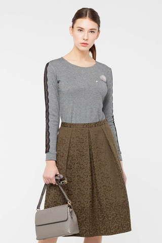 Фото классическая юбка-татьянка цвета хаки на молнии - Юбка Б123-155 (1)