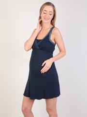 Евромама. Сорочка для беременных и кормящих с лямками из кружева, темно-синий вид 2