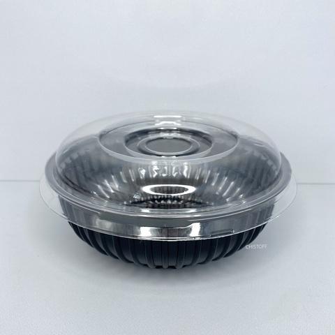 Салатник круглый ПС-210 750 мл черный + крышка прозрачная