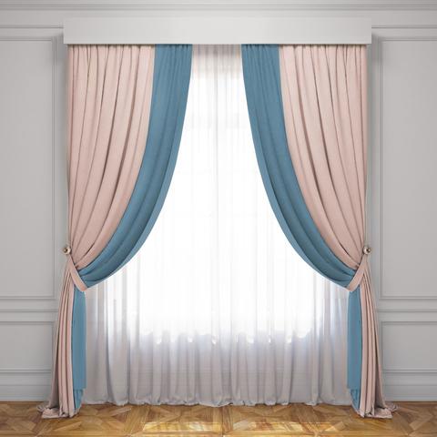 Комплект штор и тюль Ламанш светлый розовый голубой
