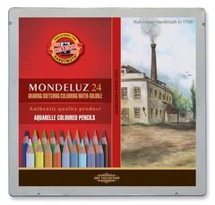 Набор художественных акварельных карандашей MONDELUZ LANDSCAPE 24 цвета в металлической коробке, защищенной блистером
