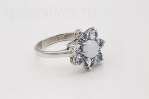 Кольцо с опалом и топазом из серебра 925