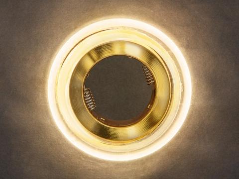 Встраиваемый светильник GP-8028-3W-GO Золото+Диодная подсветка