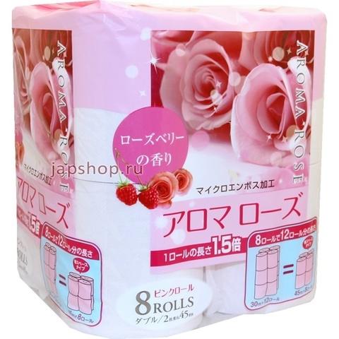 Туалетная бумага Fujieda Seishi двухслойная с ароматом Розы и малины 45 м 8 рулонов