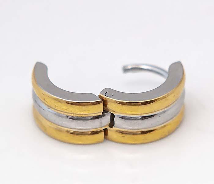 SE7088-GD Широкие серьги «Spikes» с золотистыми полосками фото 07