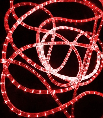 LED Дюралайт, двухжильный, круглый 13 мм, Красный, 36 LED/м, кратность резки 1 метр