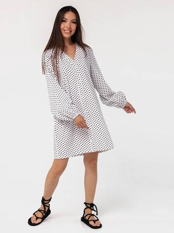 Платье-рубашка хлопковое с объемными рукавами в горошек YOS