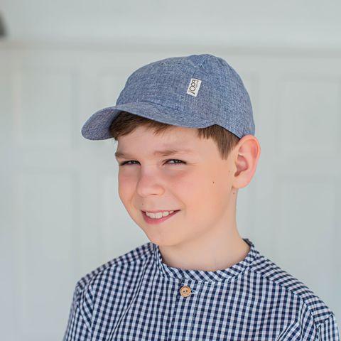 Cotton cap for teens - Blue Melange