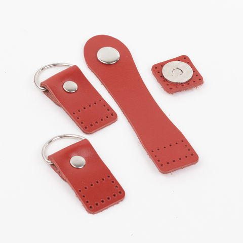 """Комплект """"Красный"""" для сумочки улитки из натуральной кожи"""