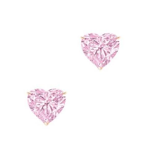 4863 - Пусеты HEART из серебра с розовыми цирконами