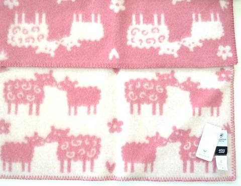Одеяло, KLIPPAN, Овечки, Эко-шерсть, Розовый, 65х90 см