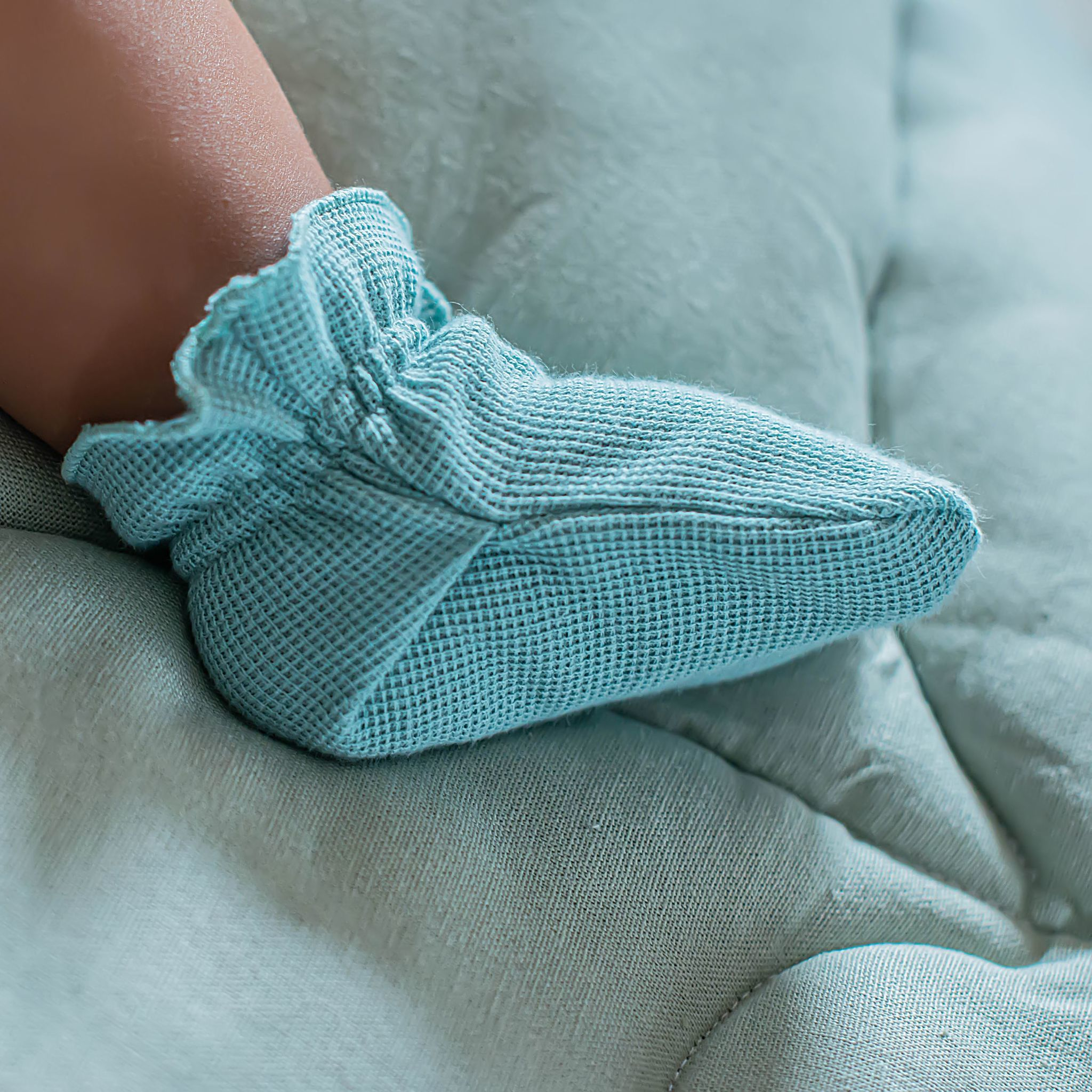 Ribbed socks 0+, Sea Blue