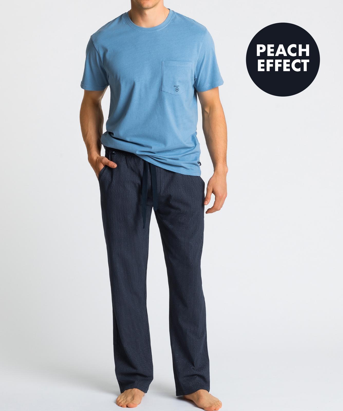Мужская пижама Atlantic, 1 шт. в уп., хлопок, голубая, NMP-347