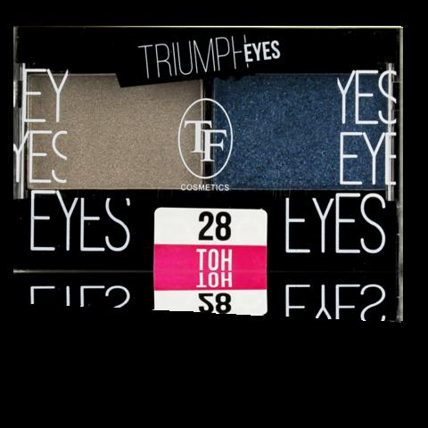 TF Тени двухцветные компактные  тон 28 Пыльный бежевый и Индиго CTE33 TRIUMPH EYES