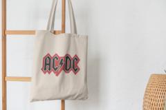 Сумка-шоппер с принтом AC DC (Рок) бежевая 001