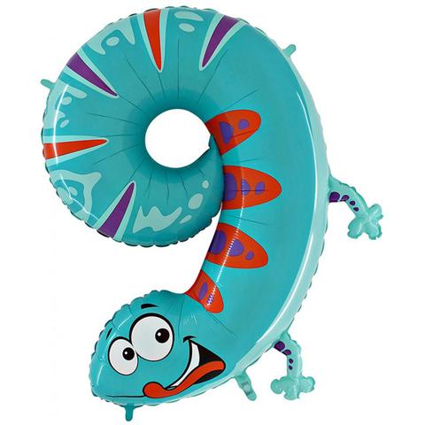 Воздушный шар (40''/102 см) Цифра, 9 Ящерица, 1 шт.