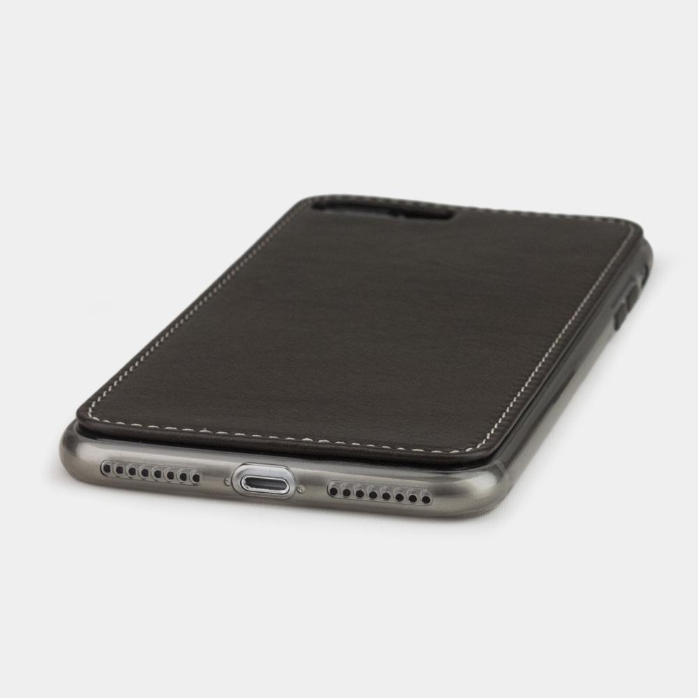 Чехол-накладка для iPhone 7 Plus из натуральной кожи теленка, темно-коричневого  цвета