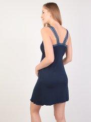 Евромама. Сорочка для беременных и кормящих с лямками из кружева, темно-синий вид 5