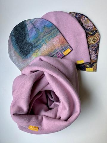Комплект шерстяной розовый с узором пейсли