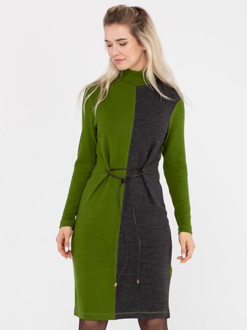 Фото платье-водолазка зеленого цвета приталенное завязками - Платье З311-459 (1)