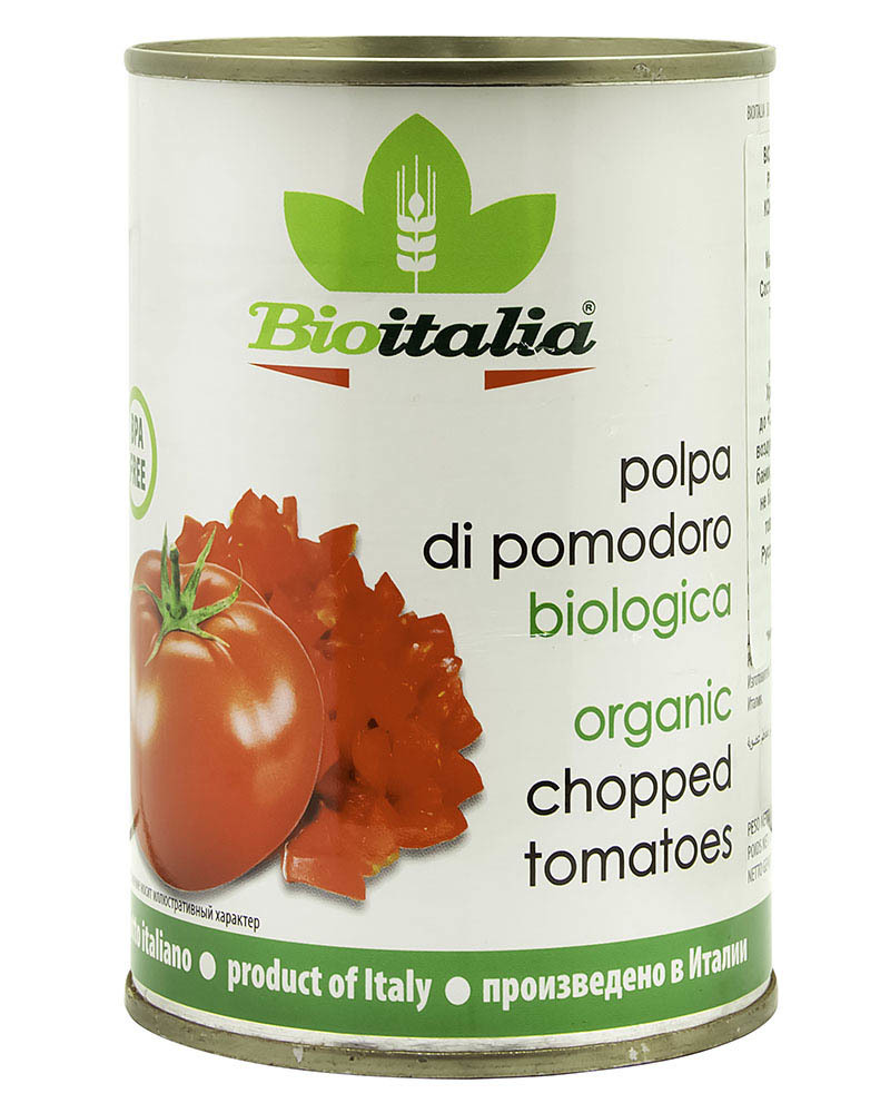 Томаты Bioitalia очищенные резаные в томатном соке 400 гр