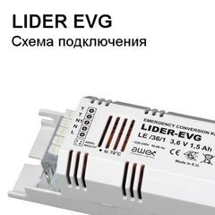 Схема подключения блока аварийного питания LIDER EVG