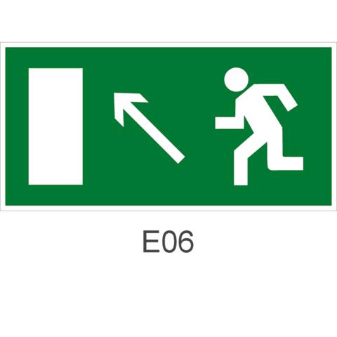 Знак Е06 движения к эвакуационному выходу налево вверх