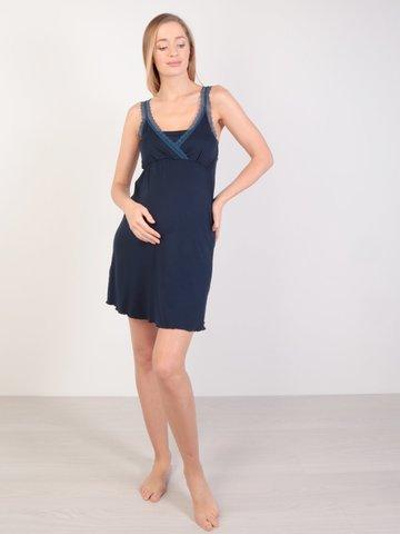Евромама. Сорочка для беременных и кормящих с лямками из кружева, темно-синий вид 1