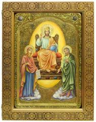 Большая живописная икона Царь Царей 42х29см на кипарисе в березовом киоте