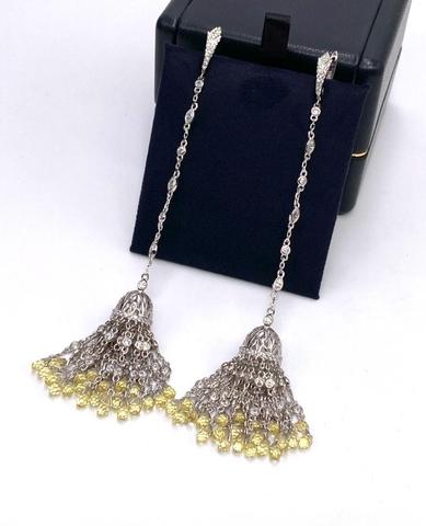 4730- Серьги с кисточками из серебра 925 пробы с желтыми цирконами огранки бриолет