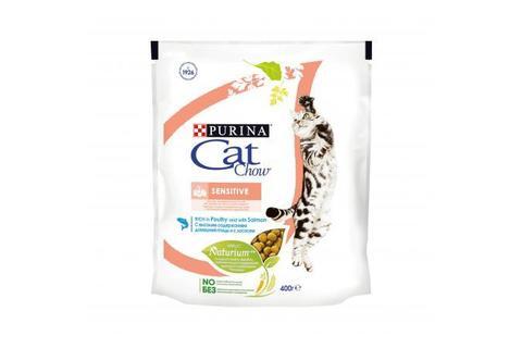 Сухой корм Purina Cat Chow Sensitive для взрослых кошек с чувствительным пищеварением, птица и лосось