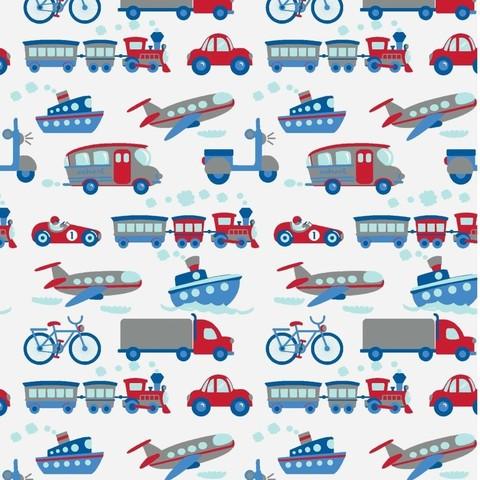 Ткань хлопковая. Сине-красный транспорт