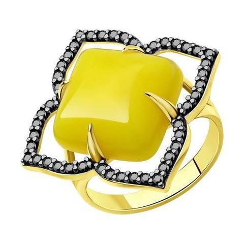 83010071 -  Кольцо из золочёного серебра с фианитами и синтетическими янтарями