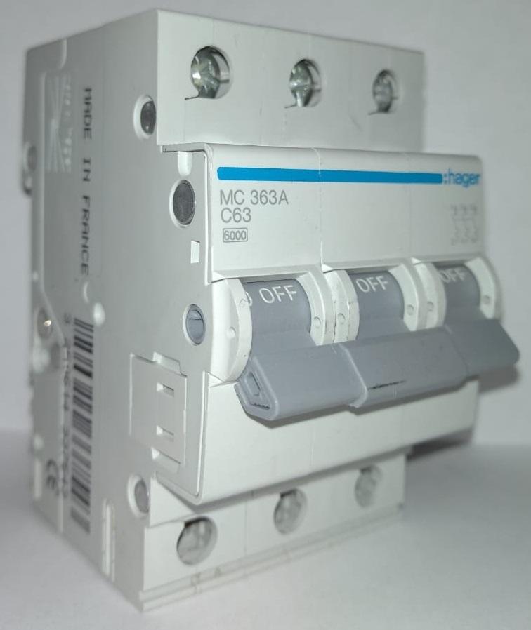 арт.MC363A; Автоматический выключатель 3P 6kA C-63A 3M