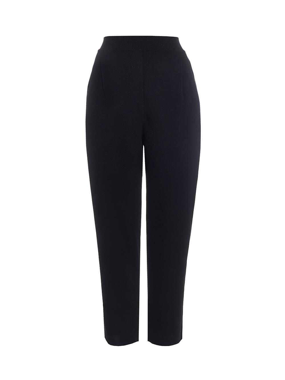 Женские брюки с защипами черного цвета из вискозы - фото 1