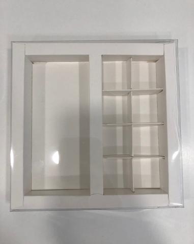 Коробка с пластиковой крышкой для конфет (на 8шт.), 20*20*3см, белая