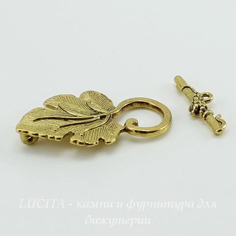 """Замок - тоггл из 2х частей """"Листик"""" 37х23 мм, 25 мм (цвет - античное золото) ()"""