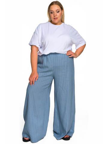 Широкие брюки изо льна джинс/полоска
