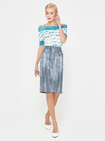 Фото стильная юбка-карандаш в полоску с имитацией карманов - Юбка Б069-379 (1)
