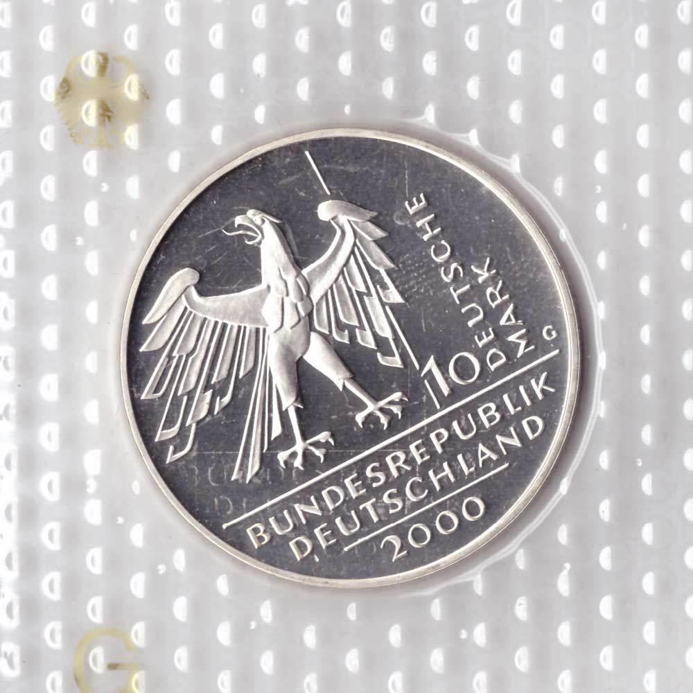 10 марок. 10 лет объединения Германии (G). Серебро. 2000 г. PROOF. В родной запайке