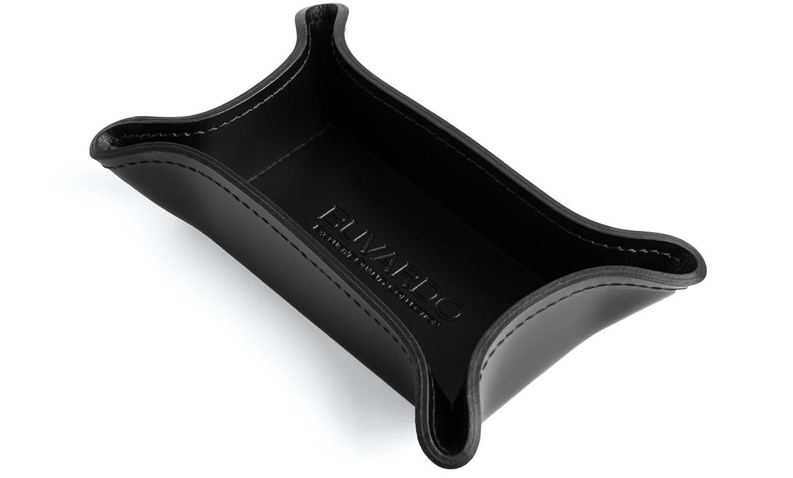 Лоток фигурный малый для крупных мелочей серия Бизнес цвет кожи Cuoietto черный.