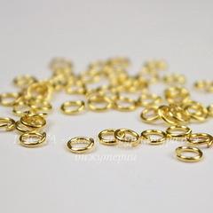 Комплект колечек одинарных 4х0,7 мм (цвет - золото), 10 гр (примерно 295 шт)