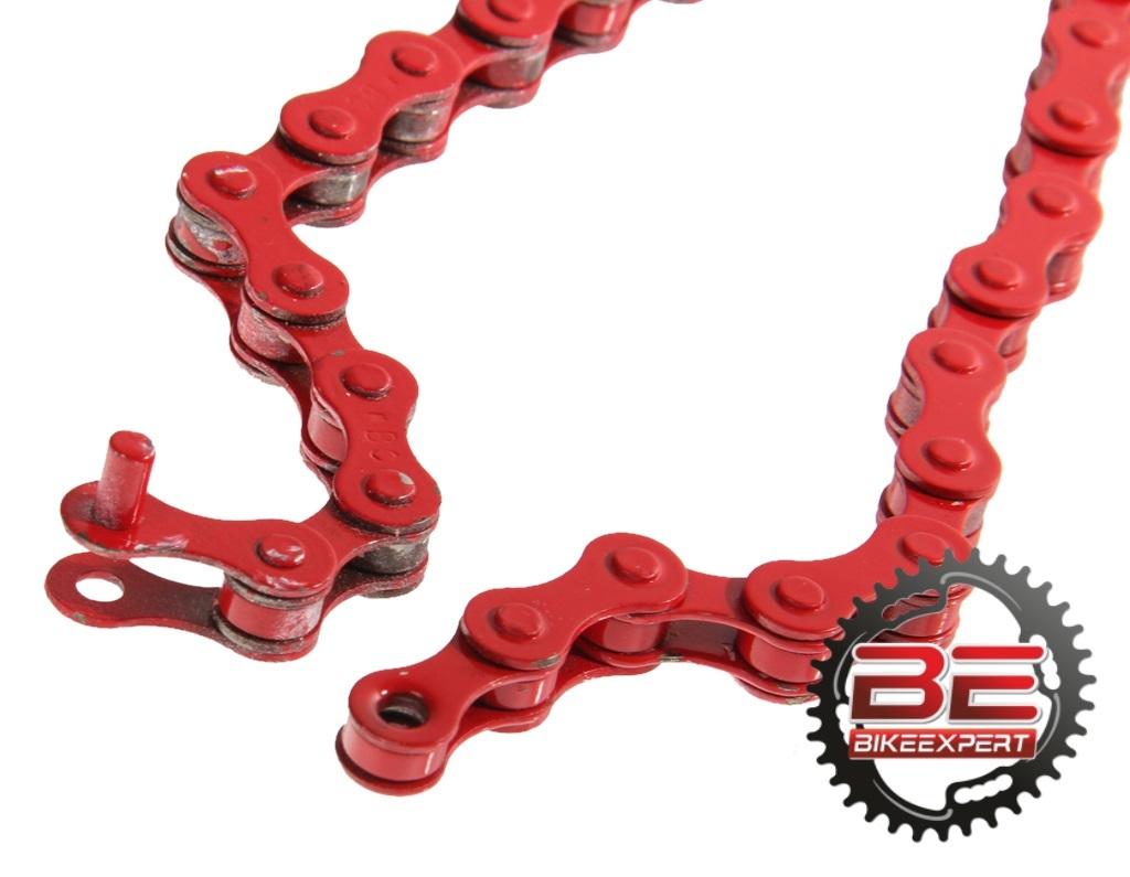 Велосипедная цепь КМС S1 ВМХ 112 звеньев красная