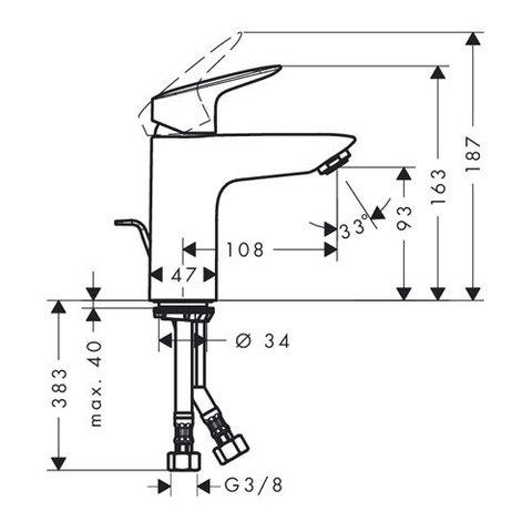 Смеситель для раковины Hansgrohe Logis 71100000 с донным клапаном схема