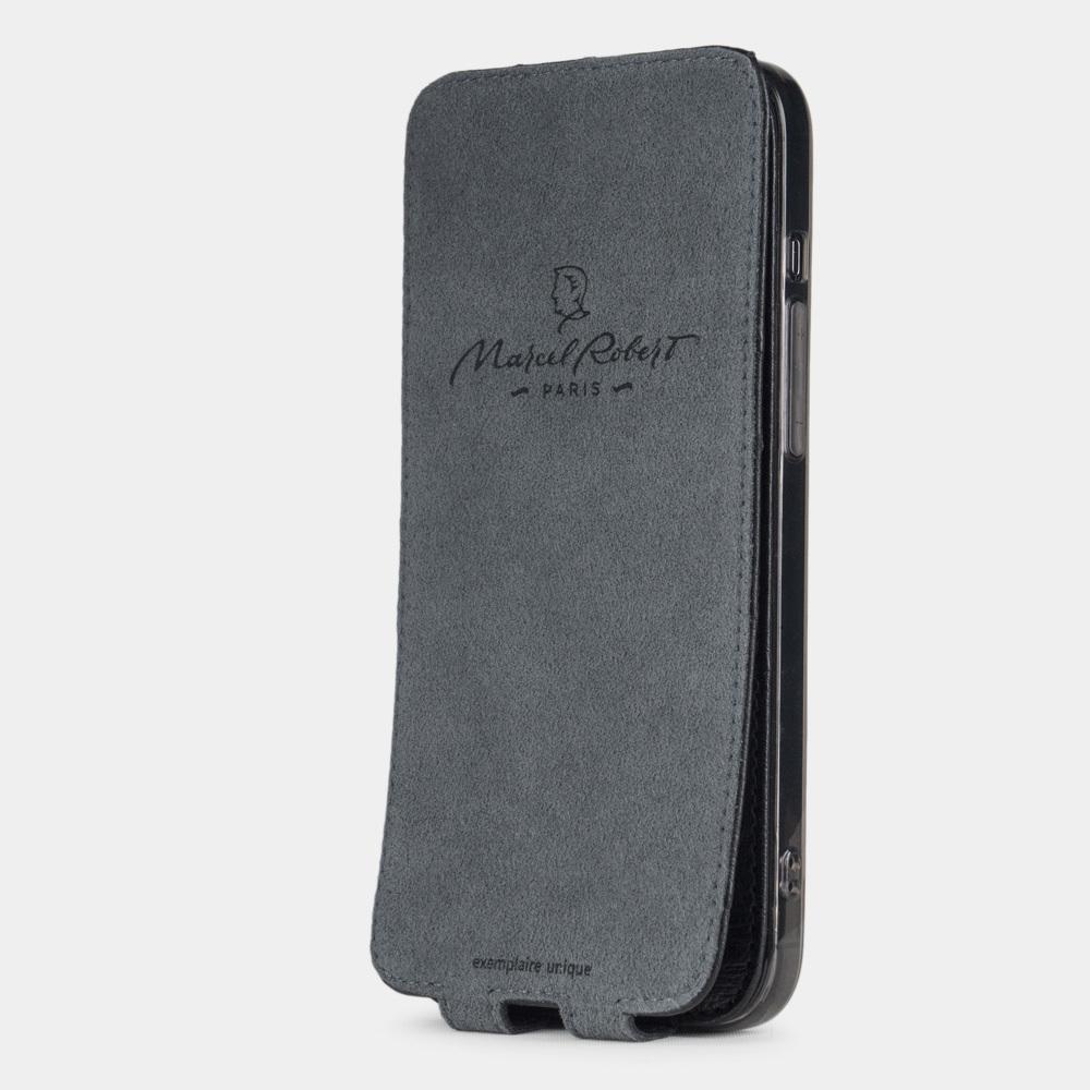 Чехол для iPhone 12 Pro Max из натуральной кожи страуса, черного цвета
