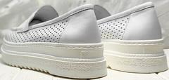 Городские кроссовки туфли кожаные женские Derem 372-17 All White.