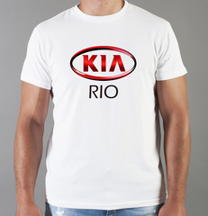 Футболка с принтом KIA RIO (КИА Рио) белая 008