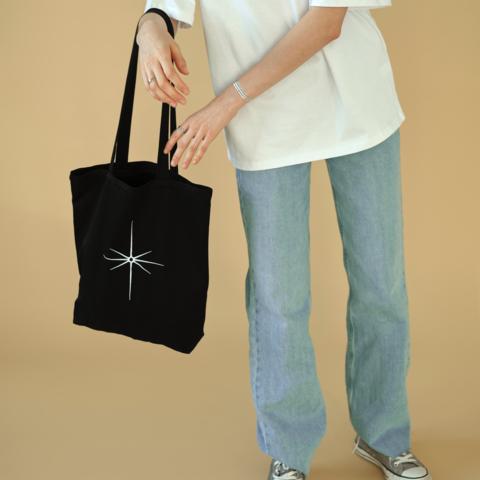Сумка с внутренним карманом и вышивкой STAR чёрная