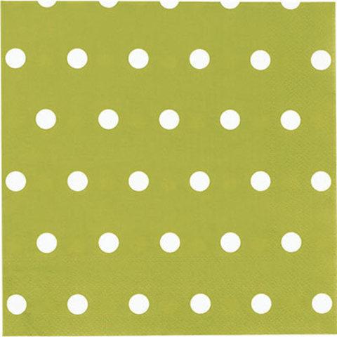 1502-3935 Салфетки Горошек салатовые 33см, 12шт