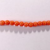 Бусина из коралла оранжевого, облагороженного, шар гладкий 4мм